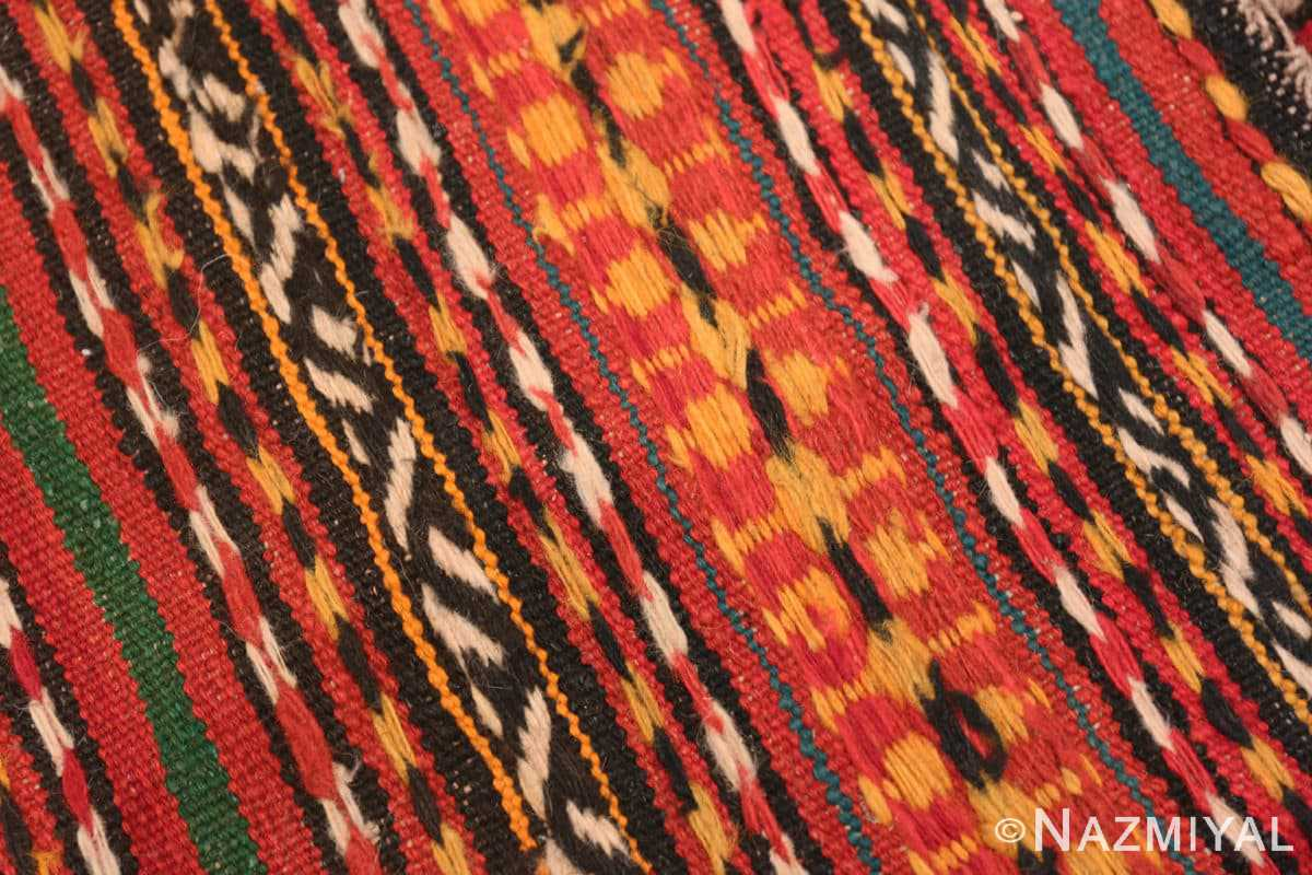 Weave detail Vintage tribal Turkish Kilim rug 50383 by Nazmiyal
