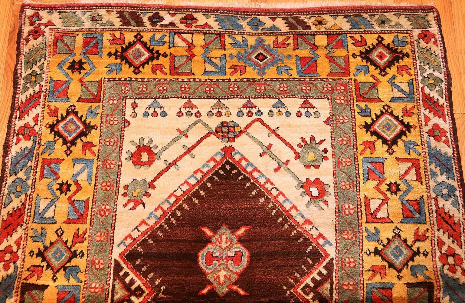 beautiful antique turkish bergama prayer rug 48722 top Nazmiyal