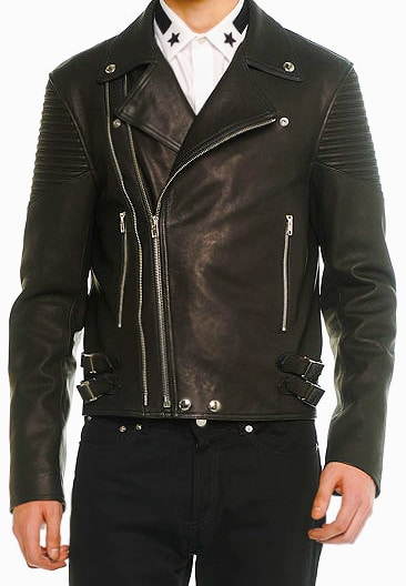 Exclusive Christmas Gifts For Him - Givenchy Asymmetric Men's Leather Moto Jacket by Nazmiyal