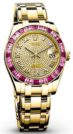 High End Gifts For Her: Rolex Datejust Pearlmaster Diamond Pave Dial 18kt Yellow Gold Ladies Watch by Nazmiyal