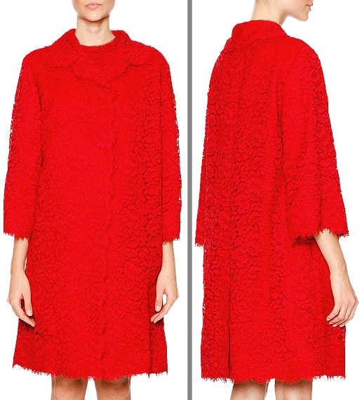 Luxury Christmas Gits For Women - D&G Cordonetto Red Lace Women's Coat by Nazmiyal