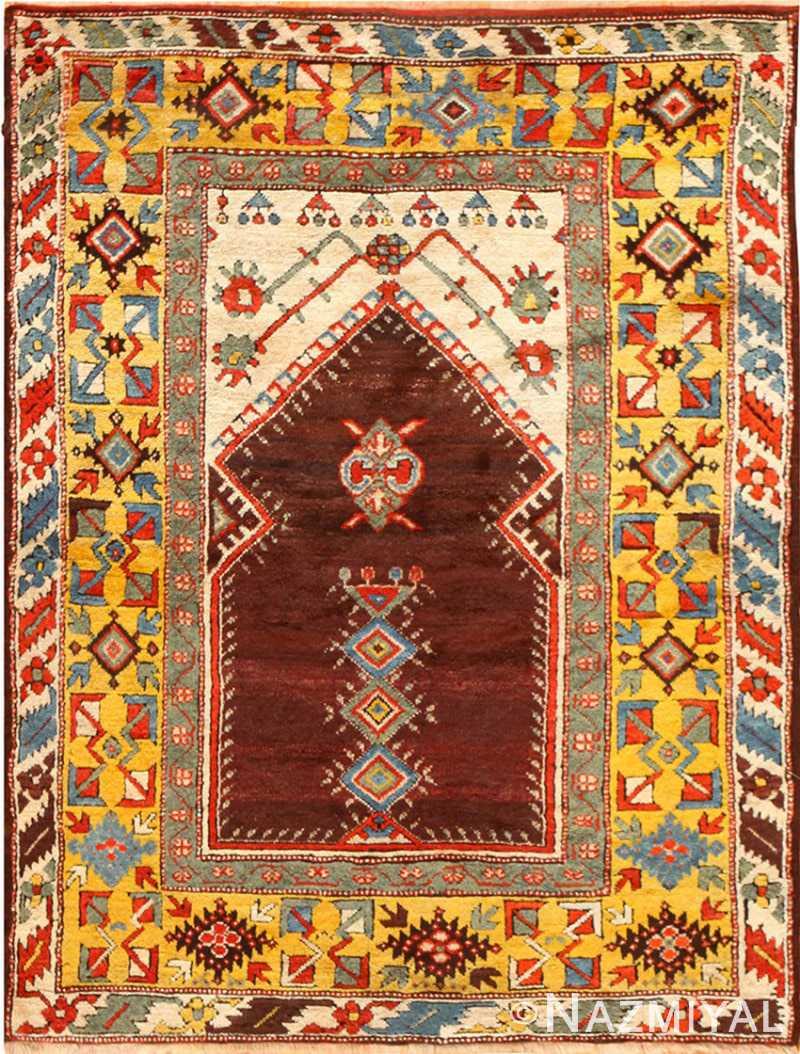 Beautiful Antique Turkish Melas Prayer Rug 48722 Nazmiyal