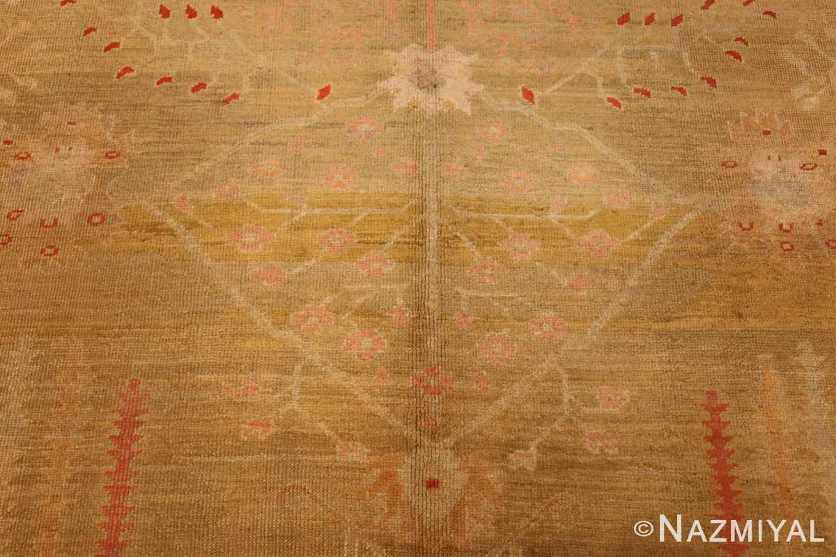 beautiful antique turkish oushak rug 47703 flower Nazmiyal