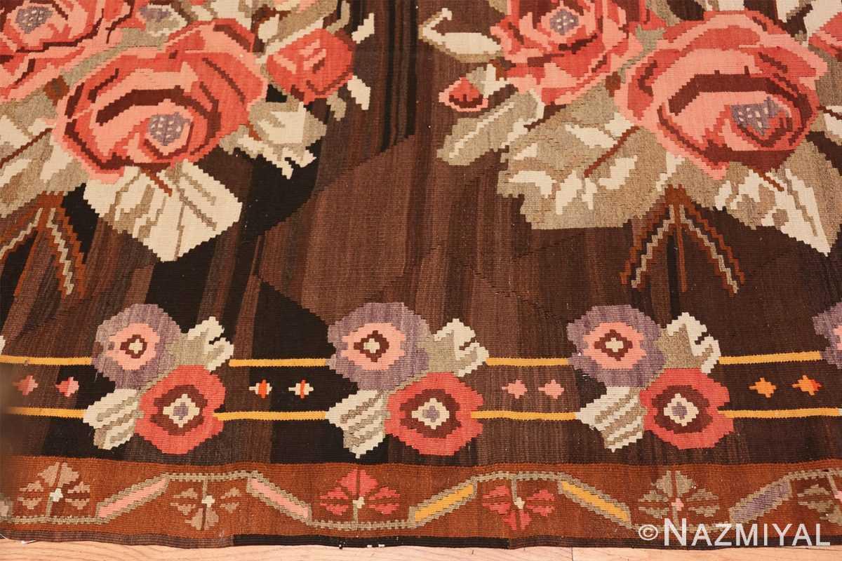 Border floral vintage Turkish Kilim rug 50476 by Nazmiyal