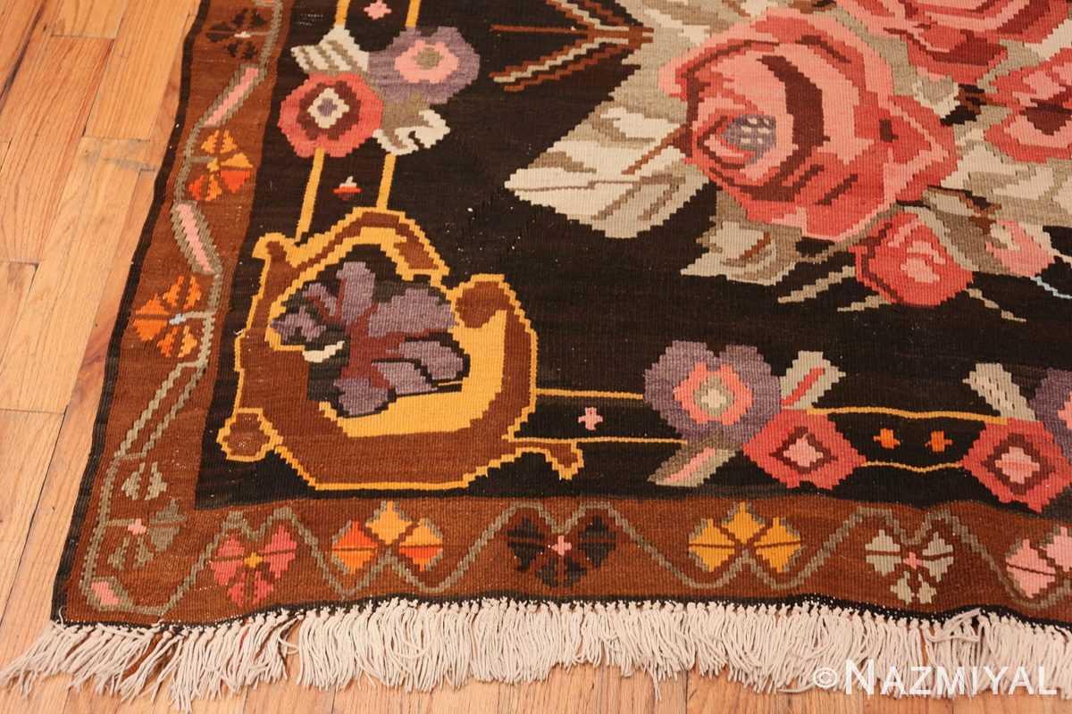 Corner floral vintage Turkish Kilim rug 50476 by Nazmiyal