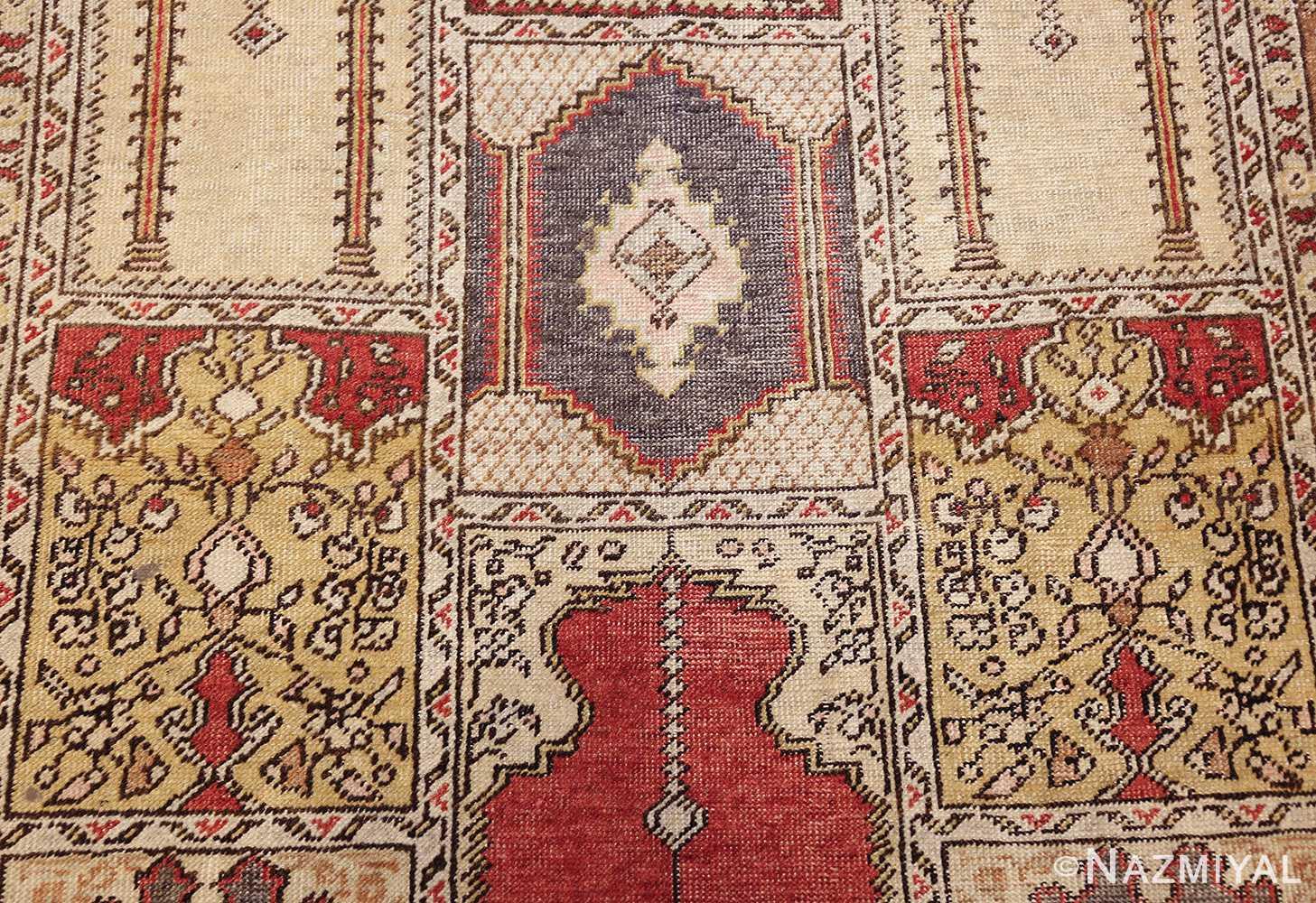 family prayer antique turkish ghiordes rug 50501 yellow Nazmiyal