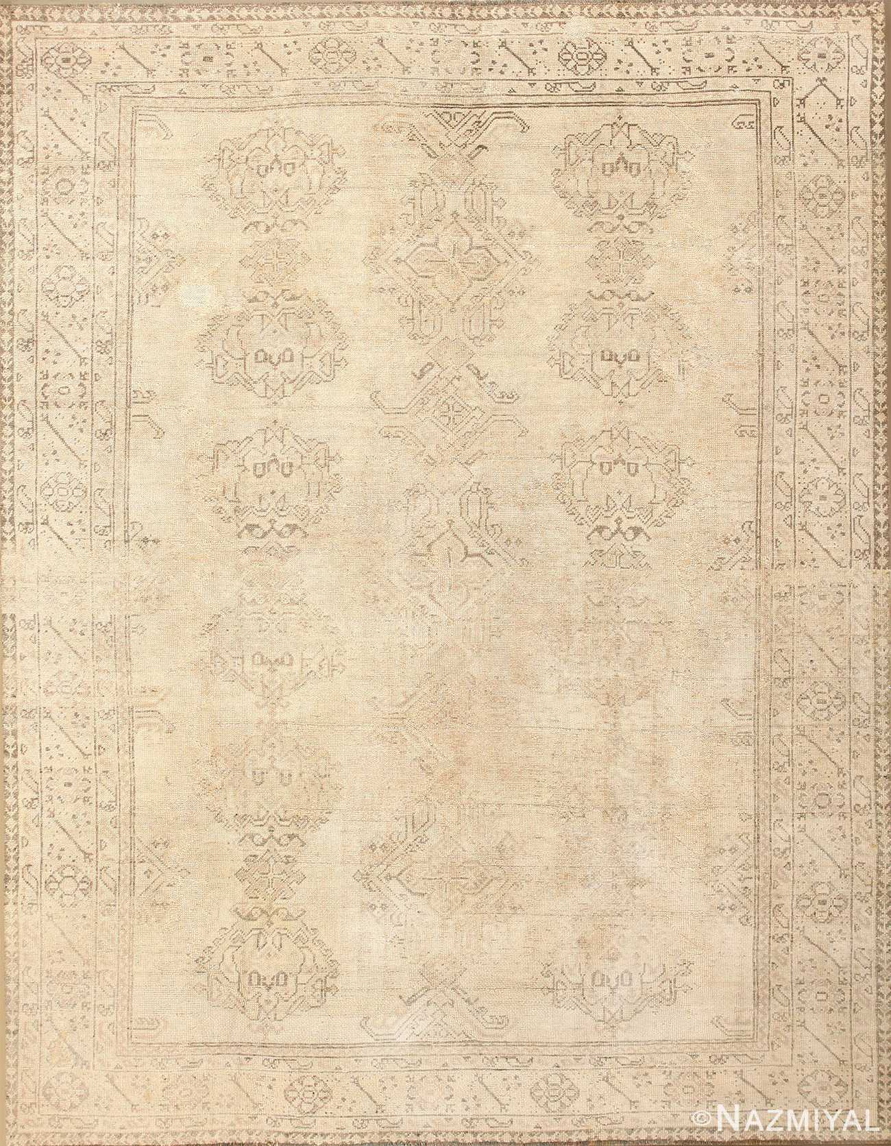 Shabby Chic Antique Turkish Oushak Rug 46698 Nazmiyal
