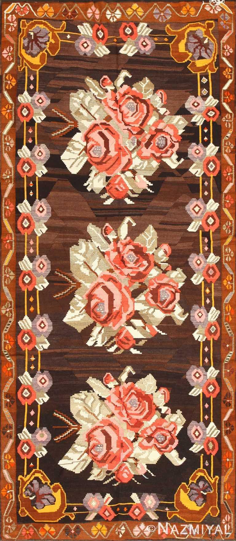 Floral Vintage Turkish Kilim Rug 50476 Nazmiyal