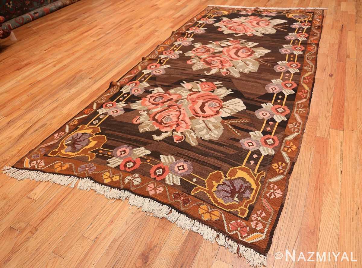Full floral vintage Turkish Kilim rug 50476 by Nazmiyal