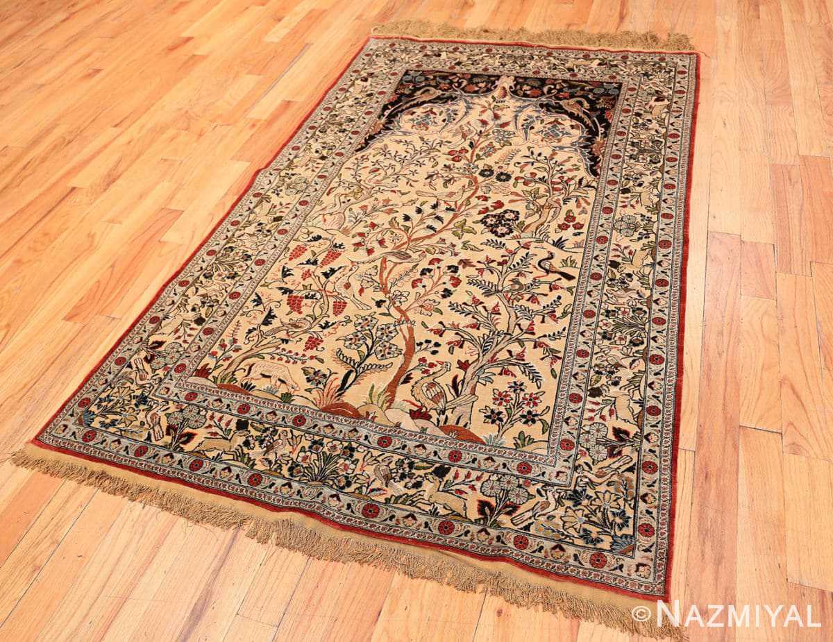 Full Small Intricate Antique Persian Kashan rug 48721 by Nazmiyal