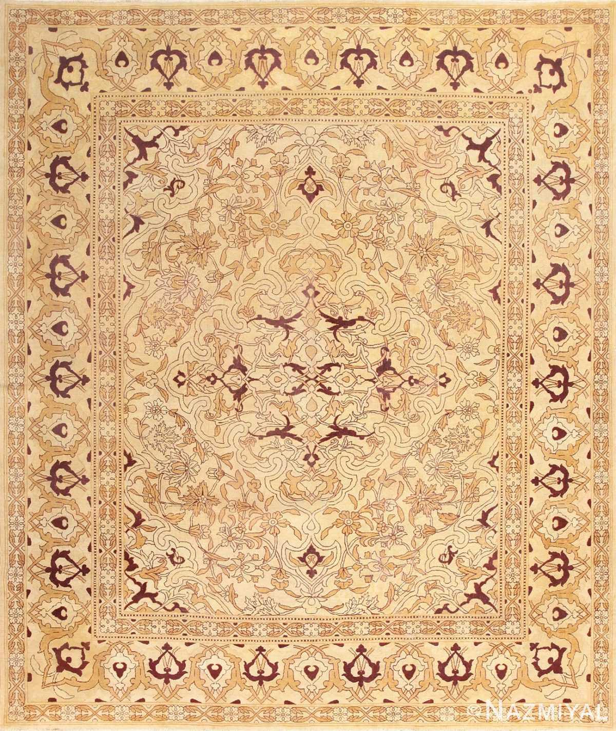 Ivory Antique Indian Amritsar Rug 50453 Nazmiyal