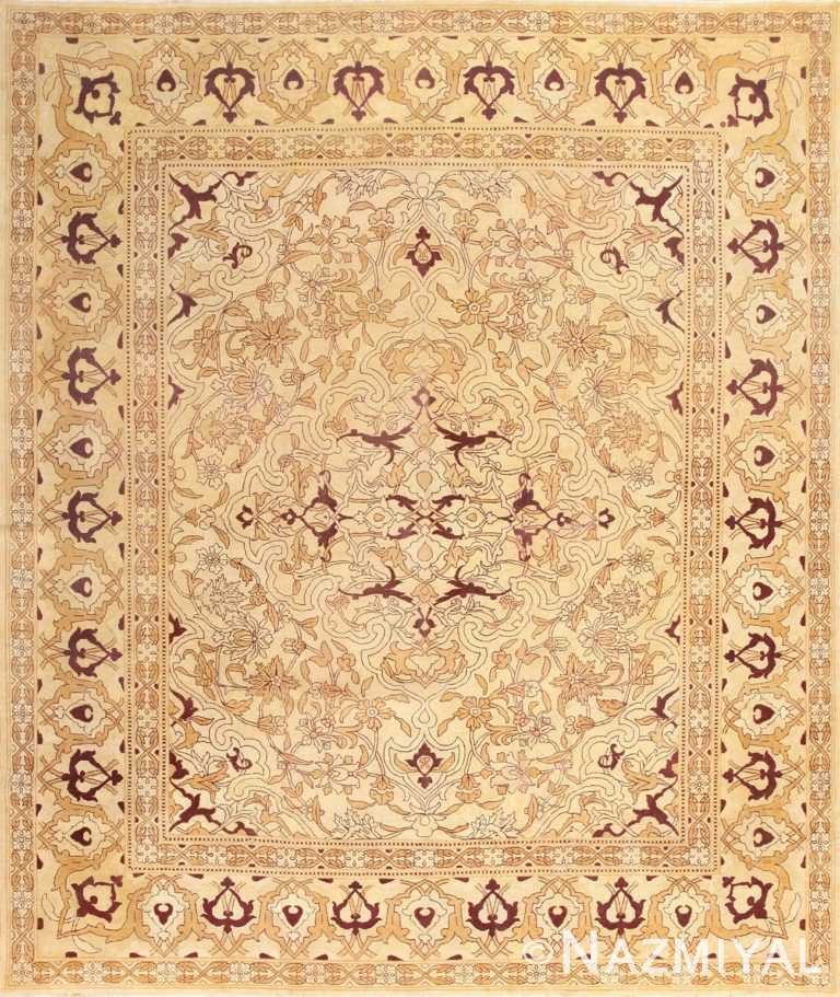 Ivory Antique Indian Amritsar Rug 50453 Nazmiyal