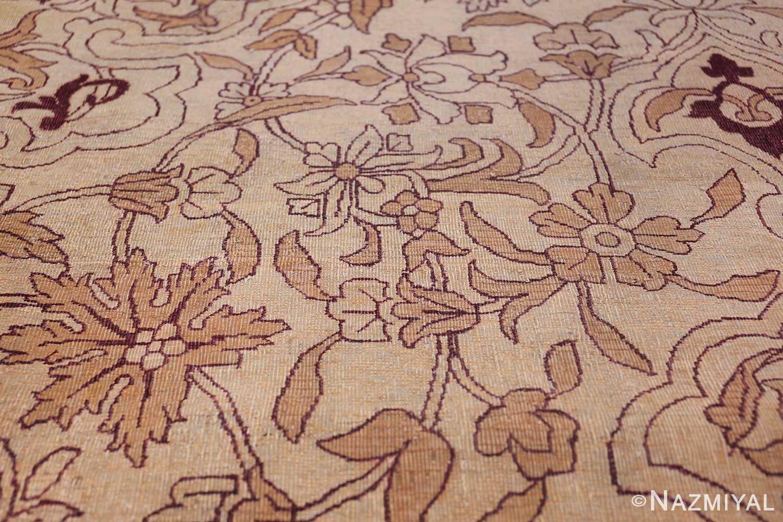 Ivory Antique Indian Amritsar Rug 50453 Flower Scrolls Nazmiyal