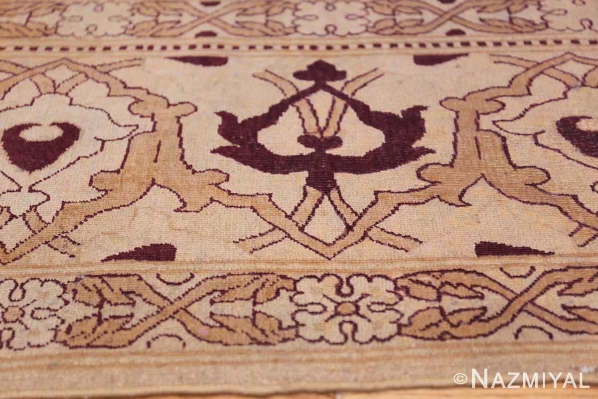 Ivory Antique Indian Amritsar Rug 50453 Red Border Pattern Nazmiyal