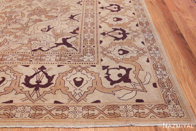Ivory Antique Indian Amritsar Rug 50453 Side Corner Nazmiyal