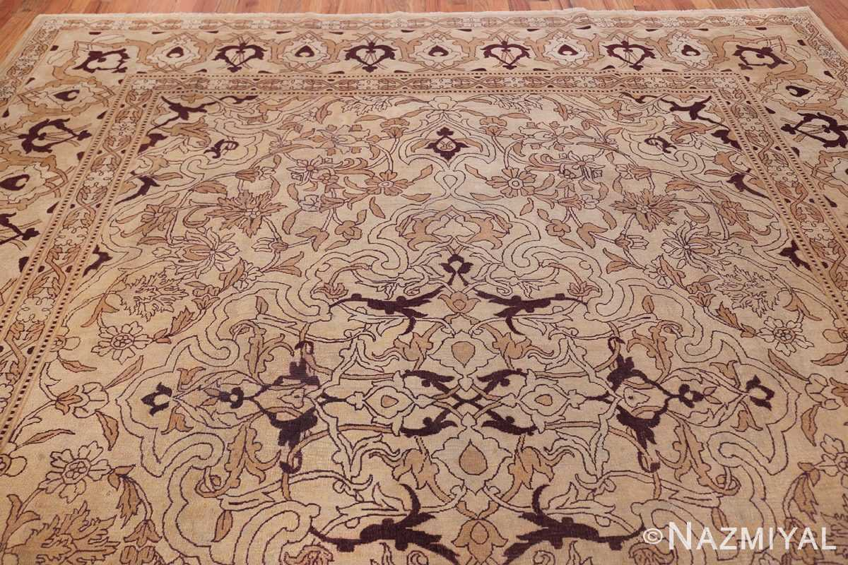 Ivory Antique Indian Amritsar Rug 50453 Top Design Nazmiyal