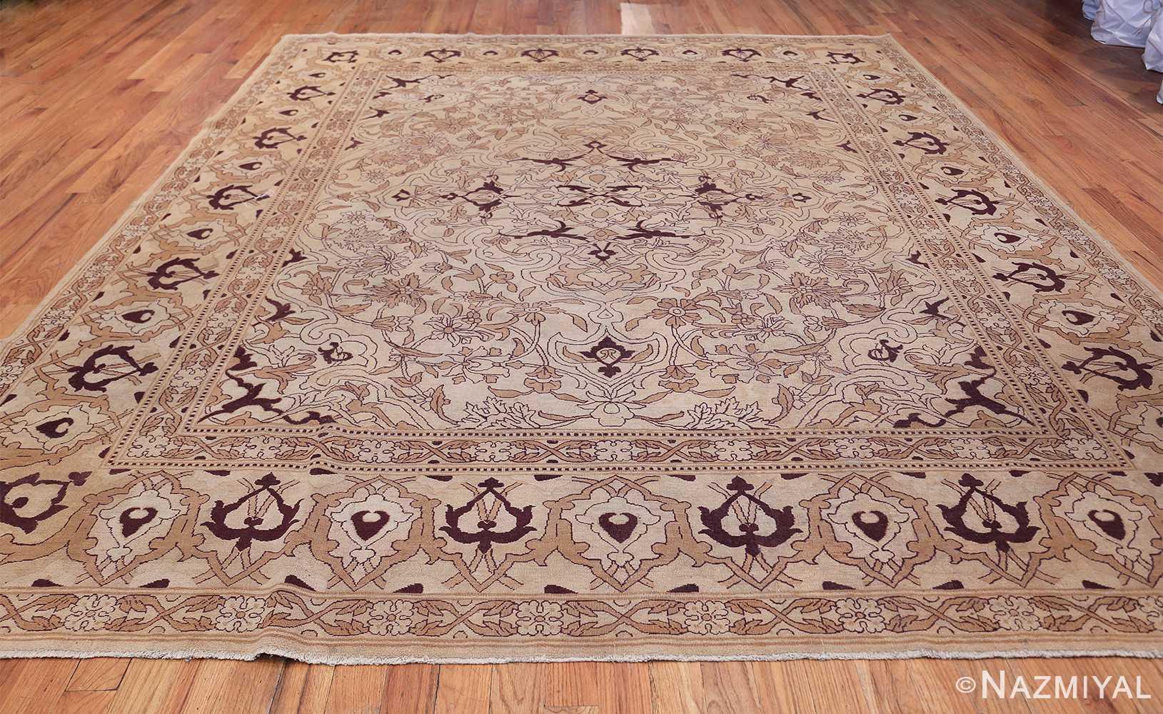 Ivory Antique Indian Amritsar Rug 50453 Whole Design Nazmiyal