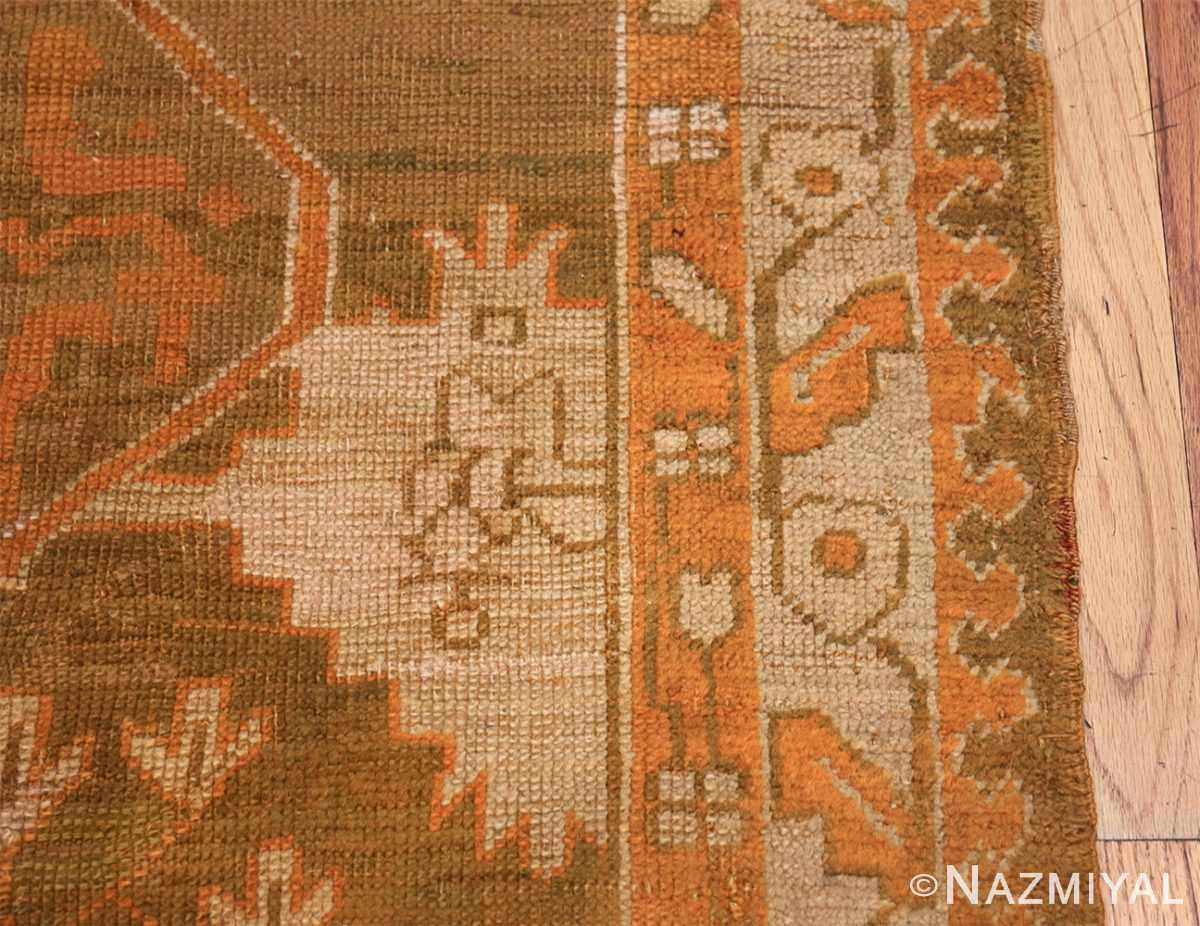 Long and Narrow Antique Turkish Oushak Rug 50502 Border Design Nazmiyal