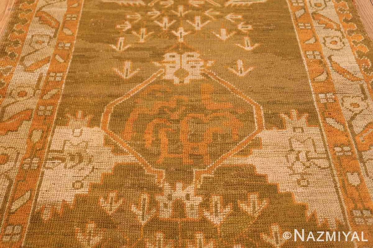 Long and Narrow Antique Turkish Oushak Rug 50502 Central Medallion Nazmiyal