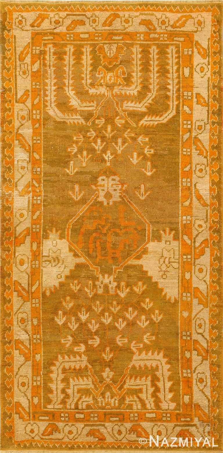 Long and Narrow Antique Turkish Oushak Rug 50502 Nazmiyal