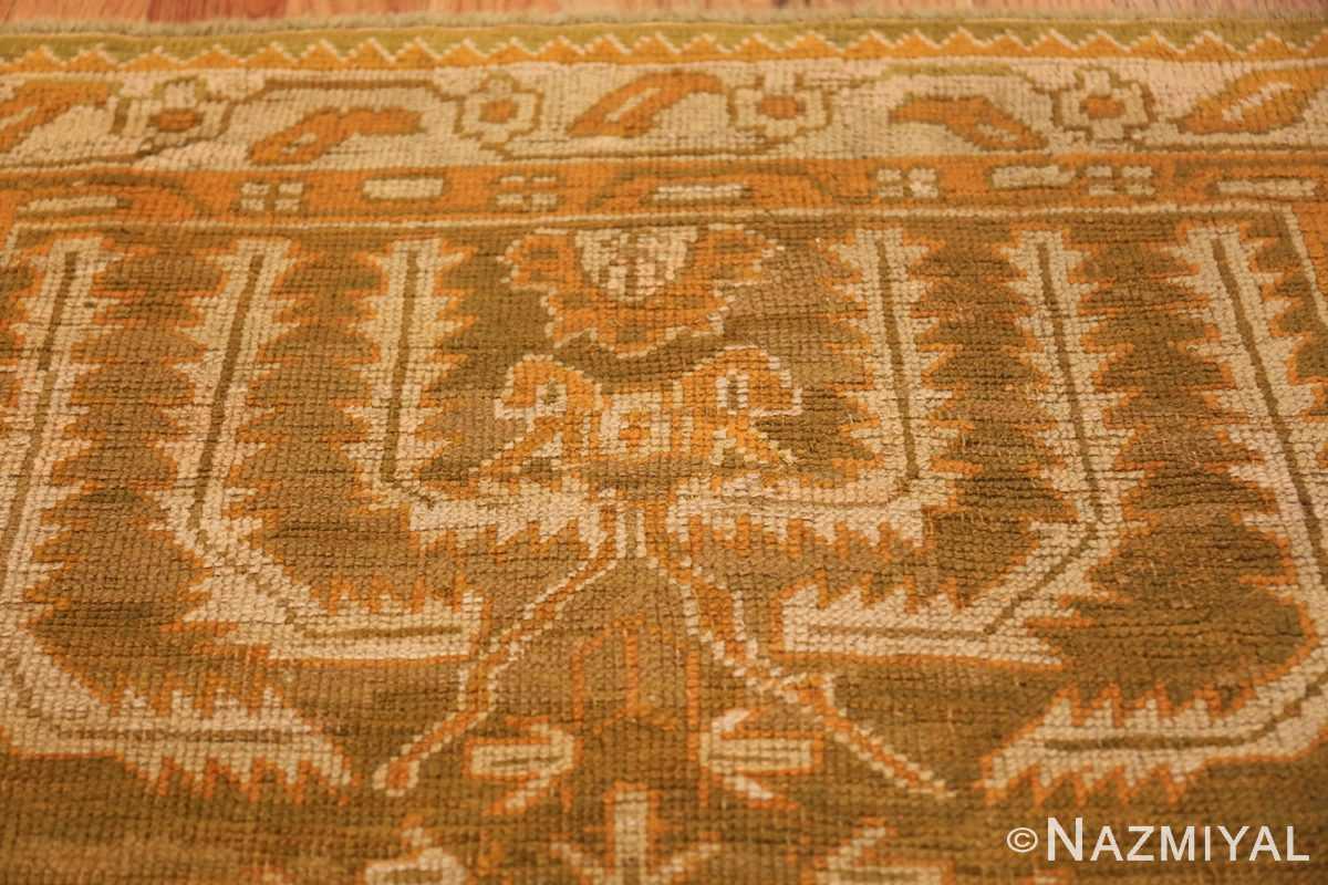 Long and Narrow Antique Turkish Oushak Rug 50502 Ivory Design Nazmiyal