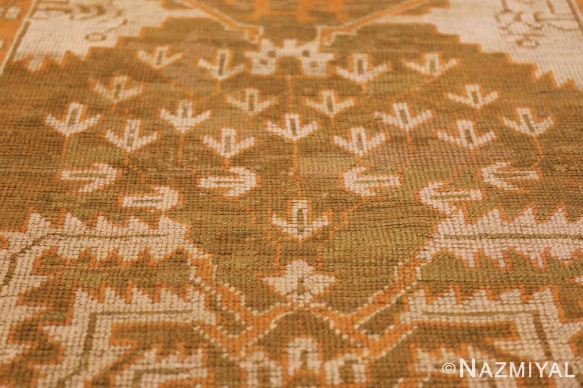 Long and Narrow Antique Turkish Oushak Rug 50502 Ivory Leaves Nazmiyal