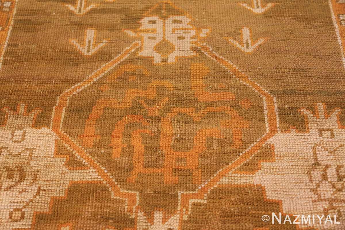 Long and Narrow Antique Turkish Oushak Rug 50502 Middle Pattern Nazmiyal