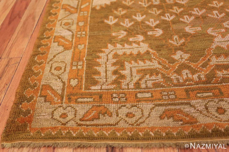 Long and Narrow Antique Turkish Oushak Rug 50502 Side Corner Nazmiyal