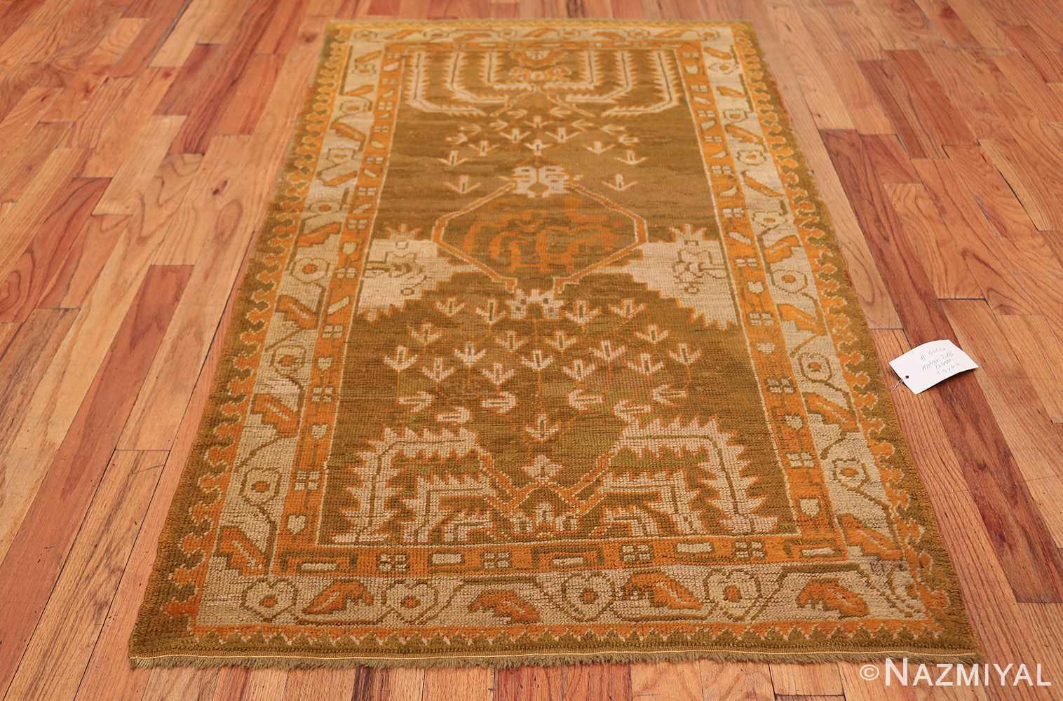 Long and Narrow Antique Turkish Oushak Rug 50502 Whole Design Nazmiyal