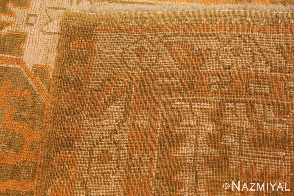 Long and Narrow Antique Turkish Oushak Rug 50502 Woven Knots Nazmiyal