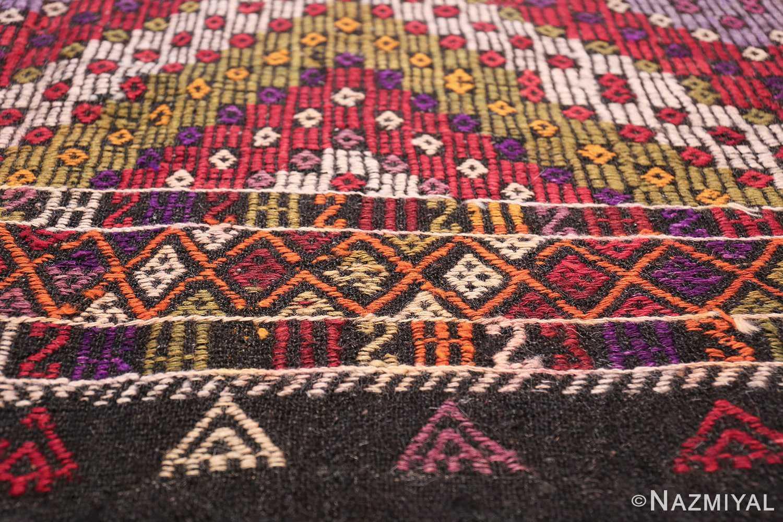 Multi Colored Vintage Turkish Kilim Rug 50534 Border Pattern Nazmiyal