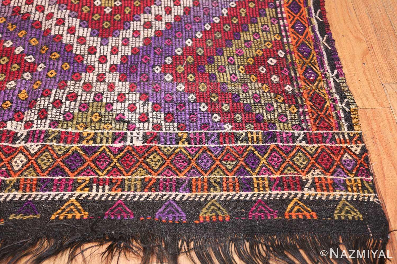 Multi Colored Vintage Turkish Kilim Rug 50534 Side Corner Nazmiyal