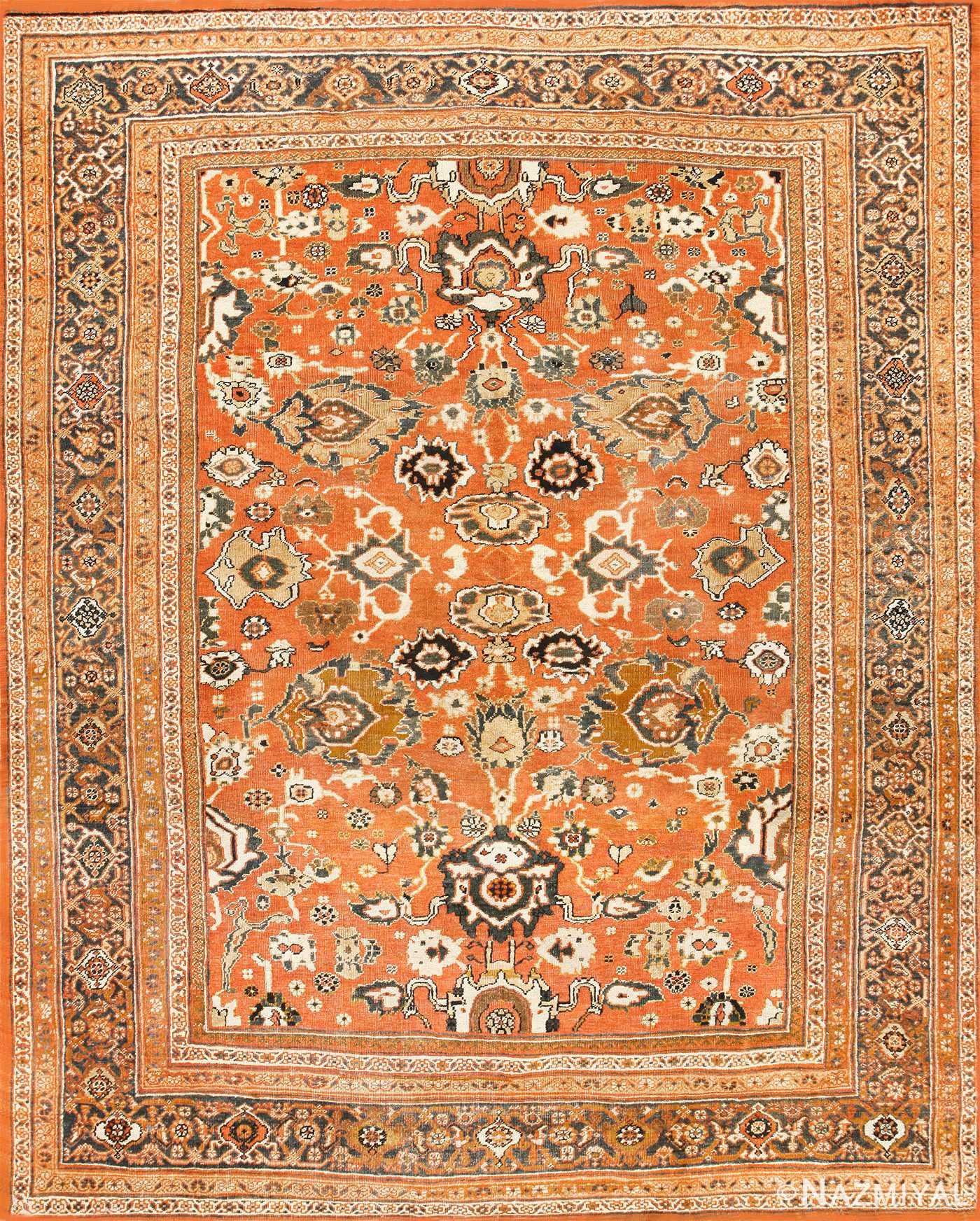 Orange Antique Persian Sultanbad Rug 50431 Nazmiyal