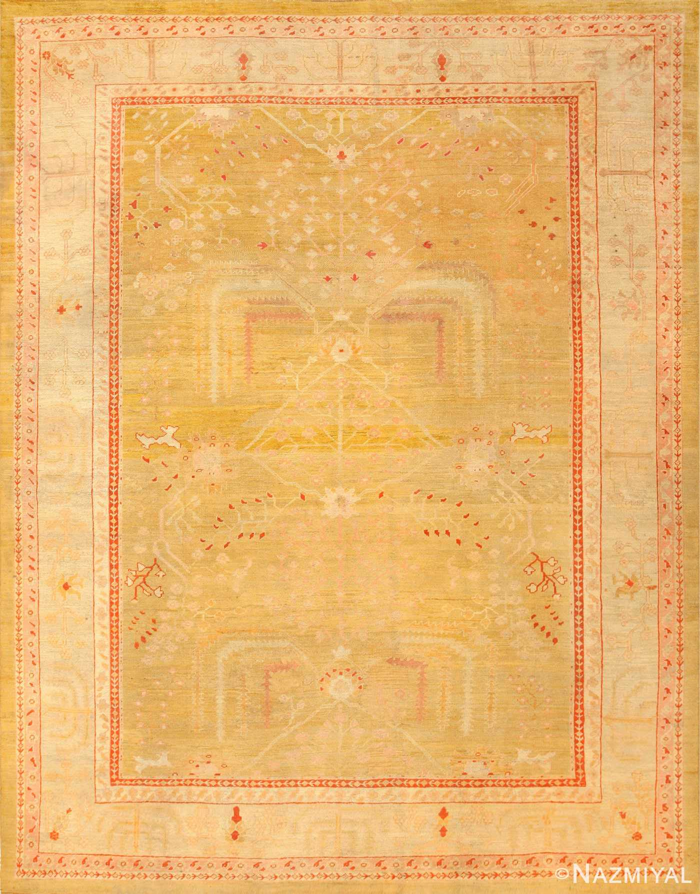 Primitive Antique Turkish Oushak Rug 47703 Nazmiyal