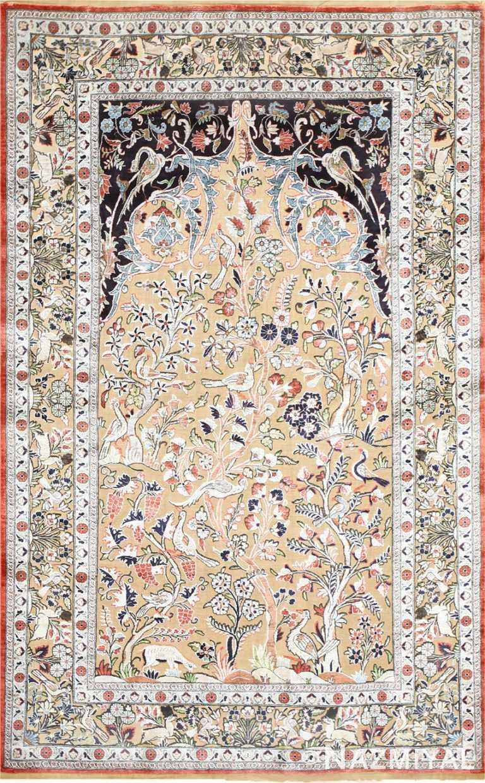 Small Intricate Antique Persian Kashan Rug 48721 Nazmiyal