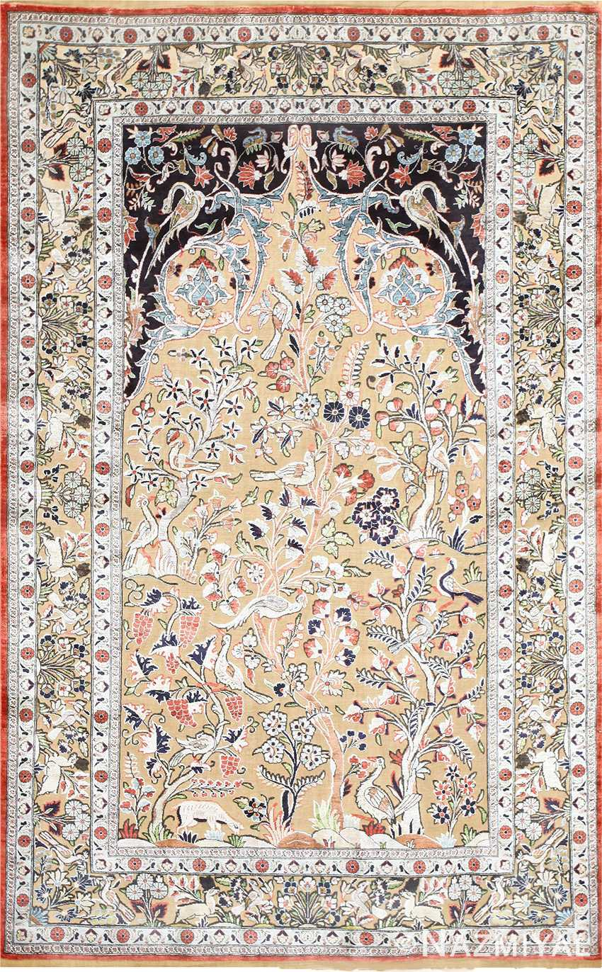 Small Intricate Antique Persian Kashan Rug 48721 Nazmiyal