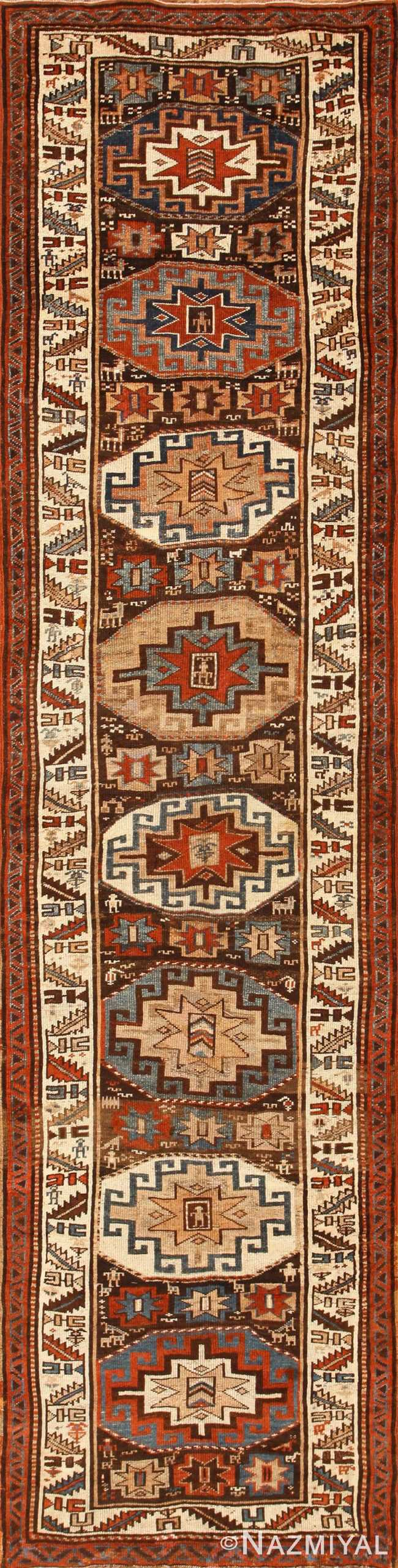 Tribal Antique Persian Kurdish Runner Rug 50463 Nazmiyal