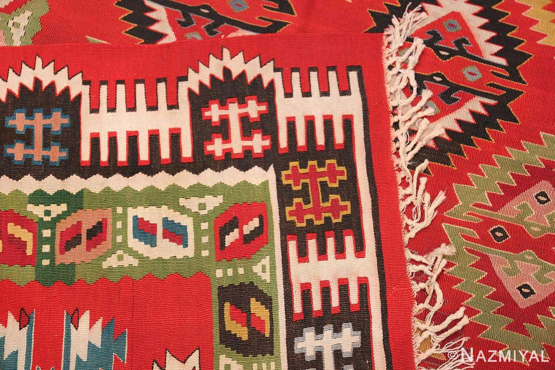 Vibrant and Fine Vintage Sarkoy Turkish Kilim Rug 50443 Flat Woven Knots Nazmiyal