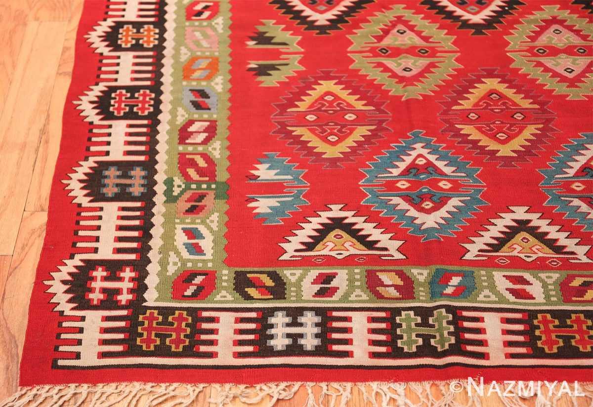Vibrant and Fine Vintage Sarkoy Turkish Kilim Rug 50443 Geometric Border Nazmiyal