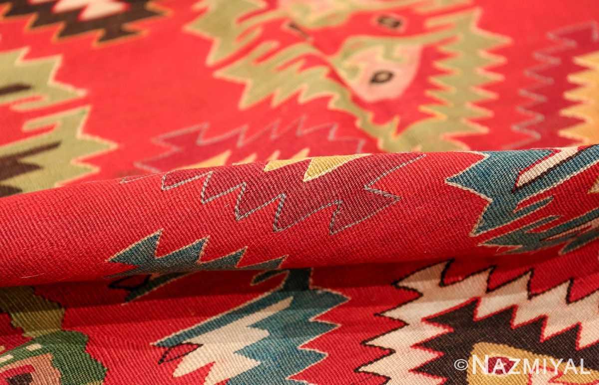 Vibrant and Fine Vintage Sarkoy Turkish Kilim Rug 50443 Geometric Pile Nazmiyal