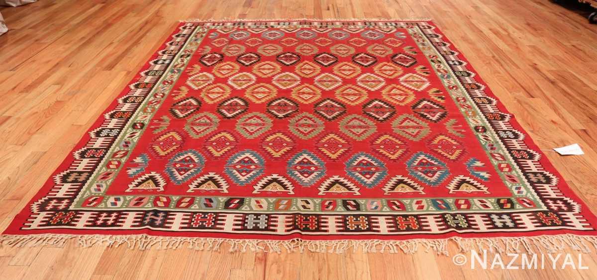 Vibrant and Fine Vintage Sarkoy Turkish Kilim Rug 50443 Whole Design Nazmiyal