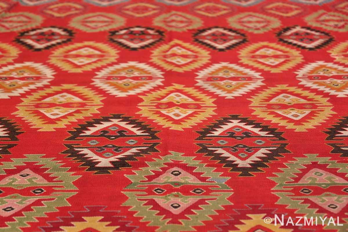Vibrant and Fine Vintage Sarkoy Turkish Kilim Rug 50443 Yellow Triangles Nazmiyal