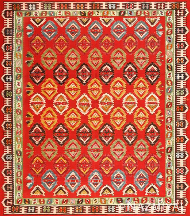 Vibrant Vintage Caucasian Kilim Rug 50443 Nazmiyal