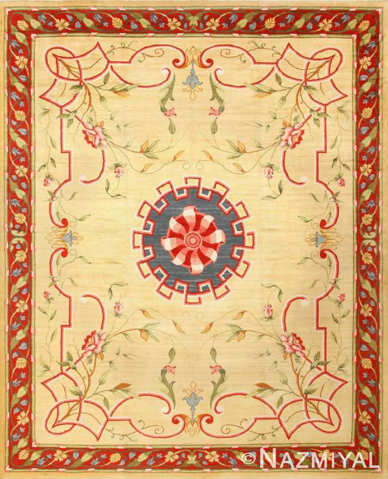 Vintage Ivory French Rug 50471 Detail/Large View