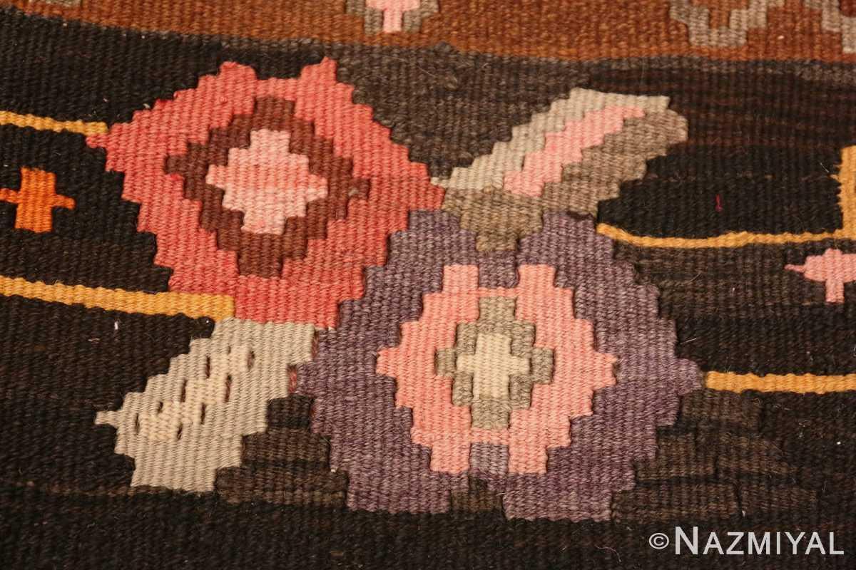 Weave detail floral vintage Turkish Kilim rug 50476 by Nazmiyal