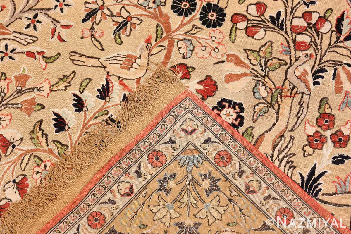 Weave detail Small Intricate Antique Persian Kashan rug 48721 by Nazmiyal