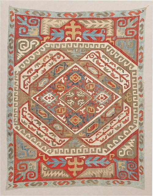 Antique Azerbaijan Silk Kaitag Embroidery Textile 47367 by Nazmiyal