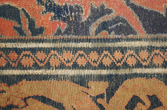 Antique 16th Century Alcaraz Rug Deep Indigo Border