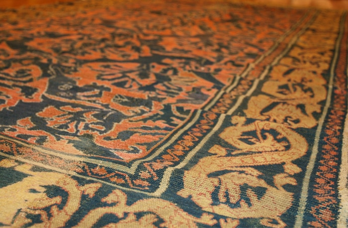 Antique 16th Century Alcaraz Rug Gold Tones