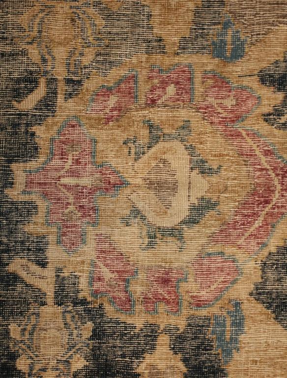 Antique 17th Century Esfahan Persian Rug Red Palmette